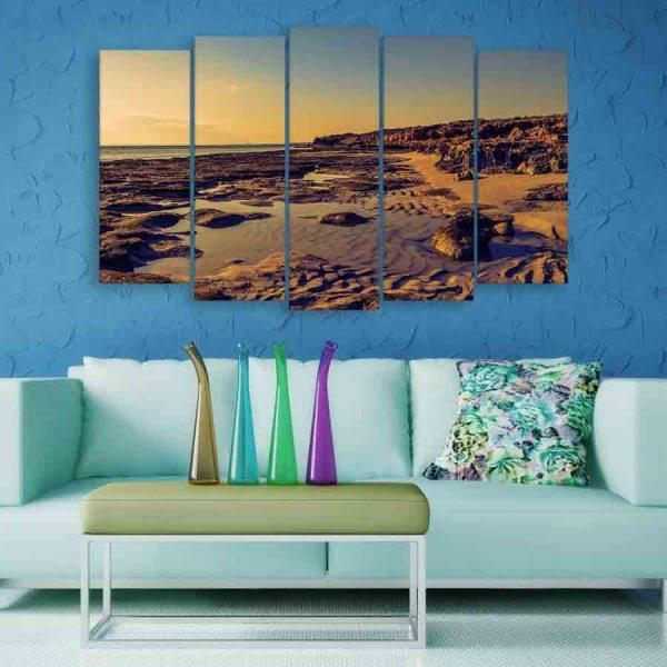 Multiple Frames Beautiful Beach Wall Painting (150cm X 76cm)