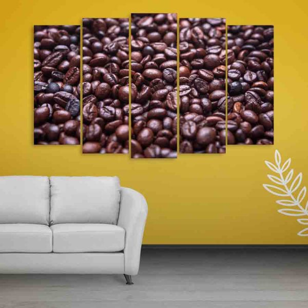 Multiple Frames Beautiful Coffee Beans Wall Painting (150cm X 76cm)
