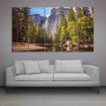 Multiple Frames Beautiful Mountains Wall Painting (150cm X 76cm)