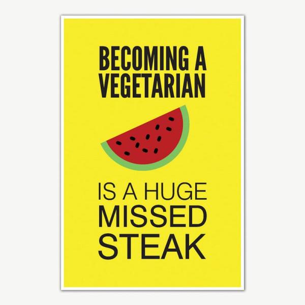 Vegetarian Funny Poster Art   Funny Posters For Room