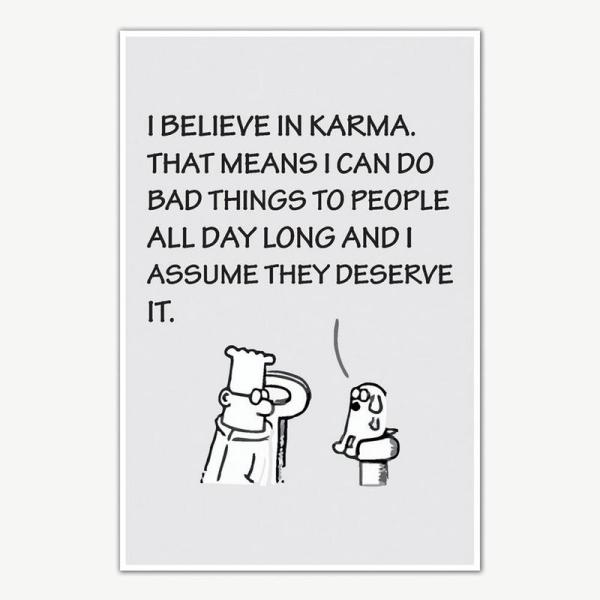 I Believe In Karma Quote Poster Art | Funny Poster For Room