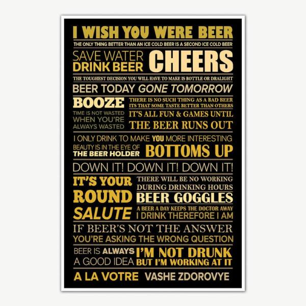 I Wish You Were Beer Quotes Poster Art | Funny Posters For Room