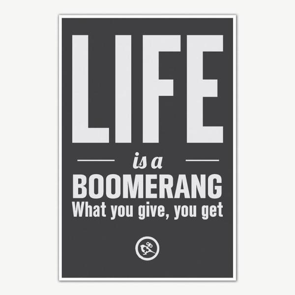 Life Is A Boomerang Quotes Poster Art | Motivational Posters For Room