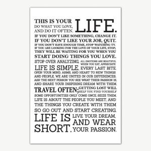 This Is Your Life Quotes Poster Art | Motivational Posters For Room