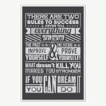 Two Rules Of Success Poster Art   Motivational Posters For Room