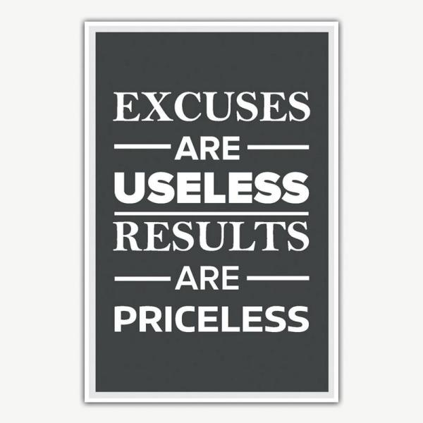 Excuses Are Useless Poster   Inspirational Posters