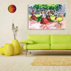 Wall Painting For Living Room India Paint Colors A With Brown Furniture Canvas Indian Village Tribal Art