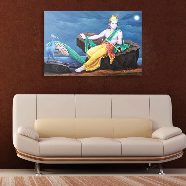 Canvas Painting - Beautiful Lord Krishna Art Wall Painting for Living Room