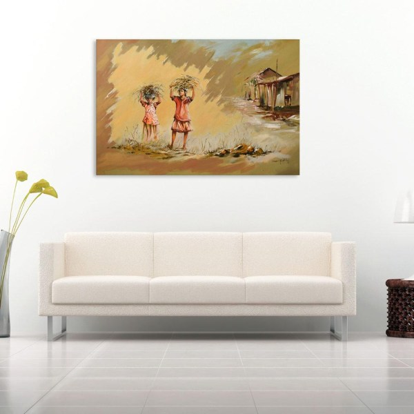 Canvas Painting - Indian Village Tribal Art Wall Painting for Living Room