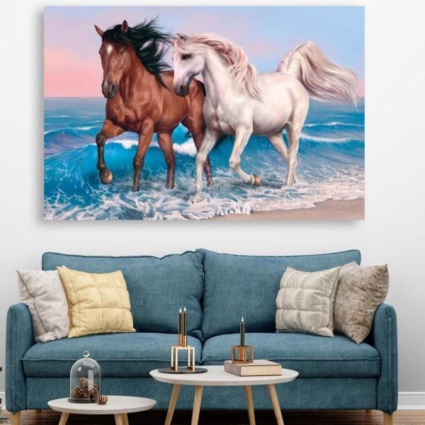 Canvas Painting - Beautiful 2 Horses Running Vastu Art Wall Painting for Living Room