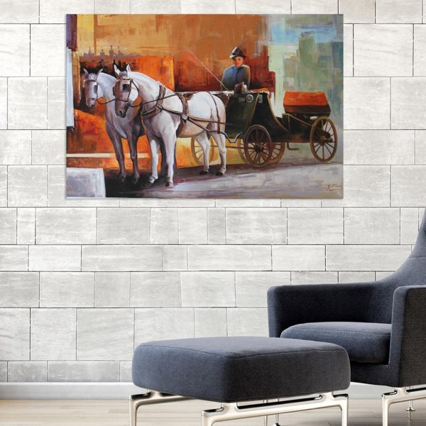 Canvas Painting - Beautiful Horsecart Art Wall Painting for Living Room