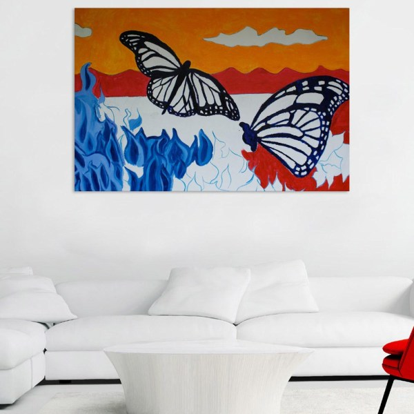 Canvas Painting - Beautiful Butterflies Art Wall Painting for Living Room
