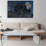 Canvas Painting - Beautiful Haunted House Art Wall Painting for Living Room