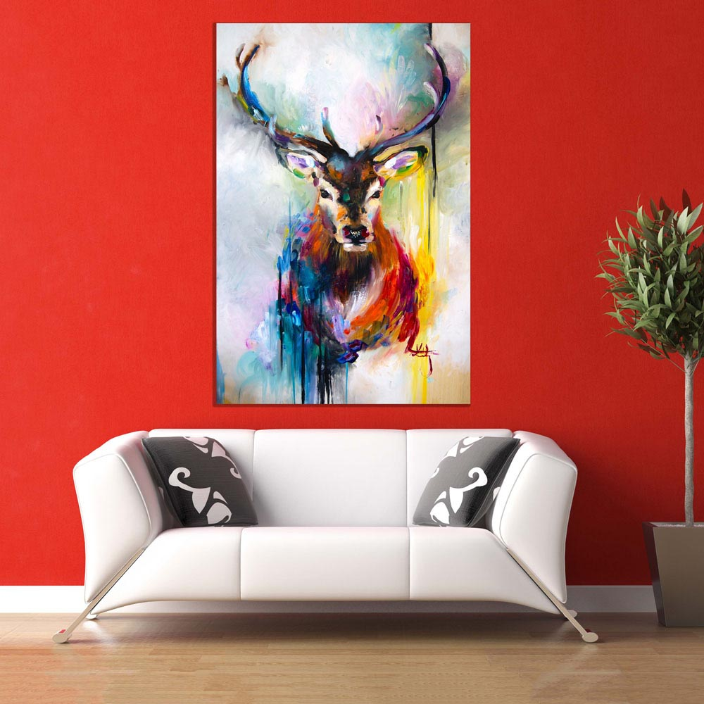 nice artwork living room rooms to go with tv canvas painting beautiful swamp deer wall for