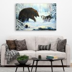Canvas Painting - Beautiful Bear and Wolf Wildlife Art Wall Painting for Living Room