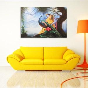 Canvas Painting - Beautiful Radha Krishna Peacock Art Wall Painting for Living Room