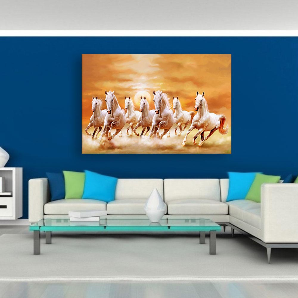 Canvas Painting  7 Horses Running Vastu Wall Painting for
