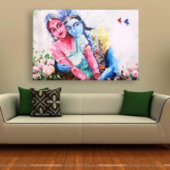 Living Room Art Wall Lodge Style Furniture Canvas Painting Beautiful Radha Krishna For