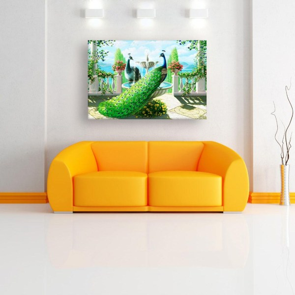 Canvas Painting - Beautiful Peacock Art Wall Painting for Living Room