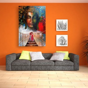 Canvas Painting - Beautiful Buddha And A Monk Art Wall Painting for Living Room
