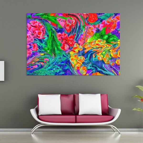 Canvas Painting - Abstract Modern Floral Art Wall Painting for Living Room