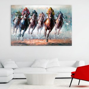 Canvas Painting - Horse Racing Illustration Art Wall Painting for Living Room