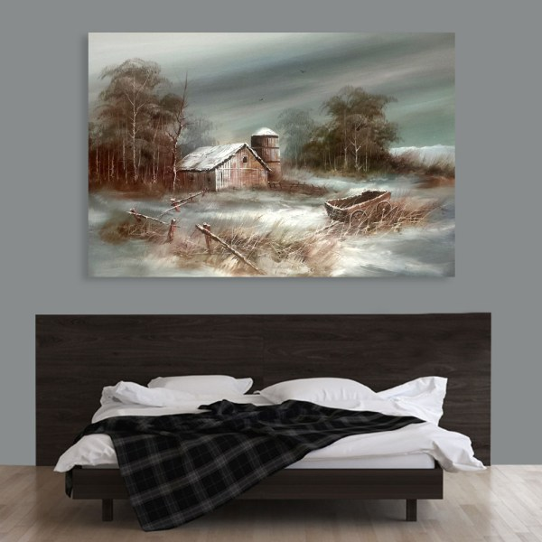 Canvas Painting - Beautiful Village Scene Art Wall Painting for Living Room