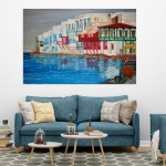 Canvas Painting - Beautiful Houses on a Lake Art Wall Painting for Living Room