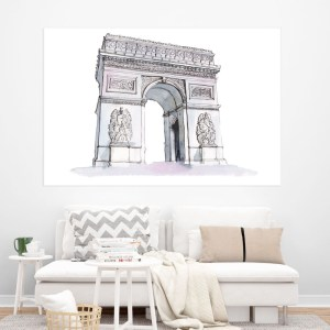 Canvas Painting – Arc De Triomphe Illustration Art Wall Painting for Living Room, Bedroom, Office, Hotels, Drawing Room (91cm X 61cm)
