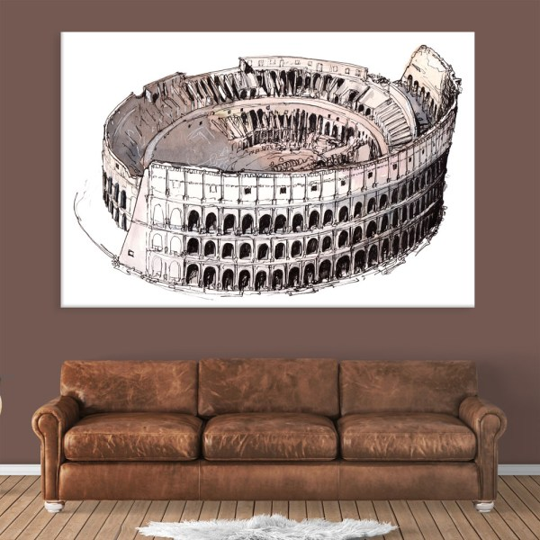 Canvas Painting - Colosseum Rome Italy Illustration Art Wall Painting for Living Room