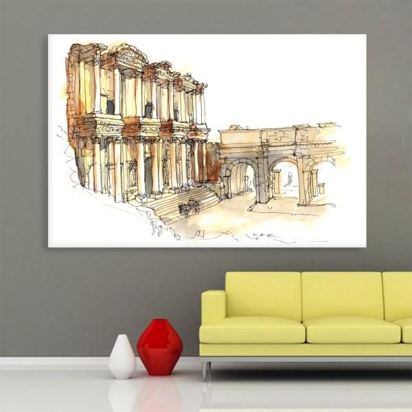 Canvas Painting - Ephesus Turkey Illustration Art Wall Painting for Living Room