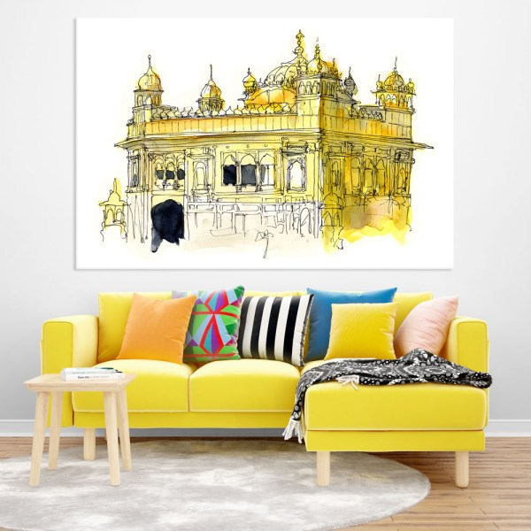 Canvas Painting - Golden Temple Amritsar Illustration Art Wall Painting for Living Room