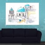 Canvas Painting - Imerovigli Village Greece Illustration Art Wall Painting for Living Room