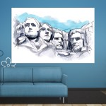Canvas Painting - Mount Rushmore Illustration Art Wall Painting for Living Room
