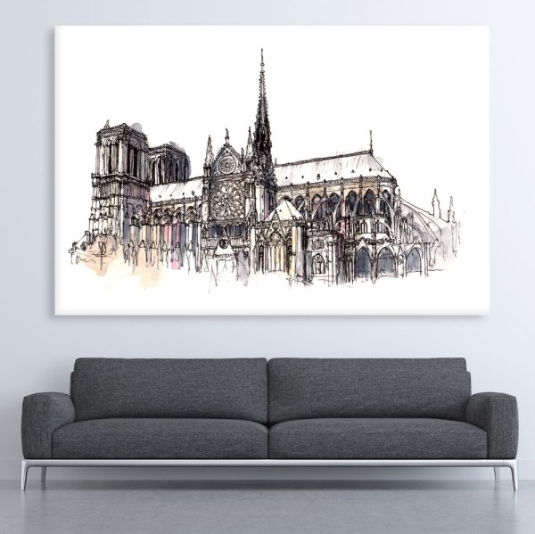 Canvas Painting - Notre-Dame Cathedral Illustration Art Wall Painting for Living Room