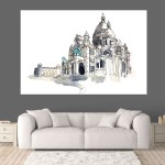 Canvas Painting - Sacre Coeur Paris Illustration Art Wall Painting for Living Room