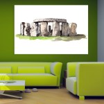 Canvas Painting - Stonehenge Illustration Art Wall Painting for Living Room