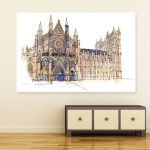 Canvas Painting - Westminster Abbey London Illustration Art Wall Painting for Living Room