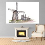 Canvas Painting - Windmills Illustration Art Wall Painting for Living Room