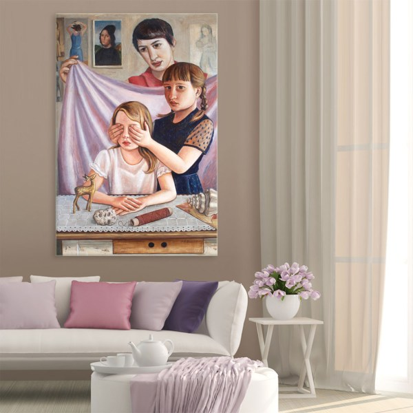 Canvas Painting - Beautiful Siblings Art Wall Painting for Living Room