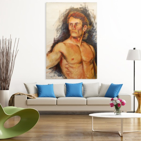 Canvas Painting - Body Builder Self Portrait Art Wall Painting for Living Room