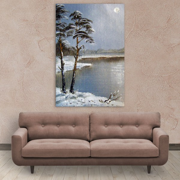 Canvas Painting - Beautiful Lake In Winters Art Wall Painting for Living Room