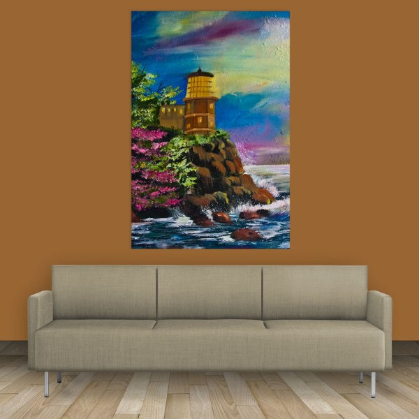Canvas Painting - Beautiful Lake Shore Art Wall Painting for Living Room
