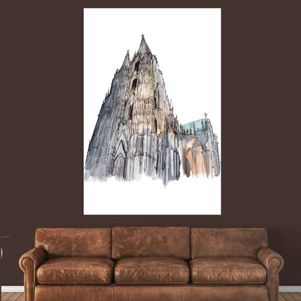 Canvas Painting - Cologne Cathedral Illustration  Art Wall Painting for Living Room