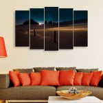 Multiple Frames Beautiful Sunrise Wall Painting for Living Room