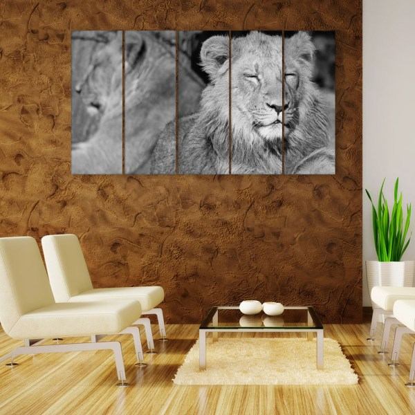 Multiple Frames Beautiful Lion Wall Painting for Living Room