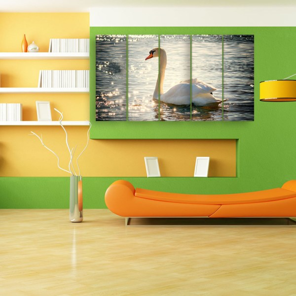 Multiple Frames Beautiful Swan Wall Painting for Living Room