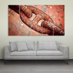 Multiple Frames Rusted Chain Wall Painting for Living Room