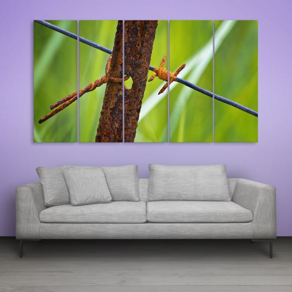 Multiple Frames Rusted Fence Wall Painting for Living Room