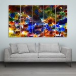 Multiple Frames Colorful Flowers Wall Painting for Living Room